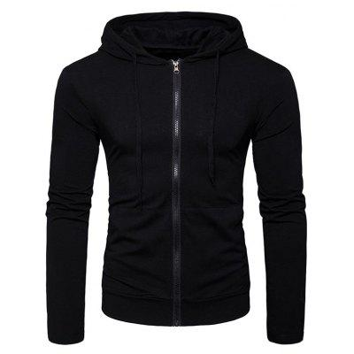 Kangaroo Pocket Zip Up Drawstring Hoodie