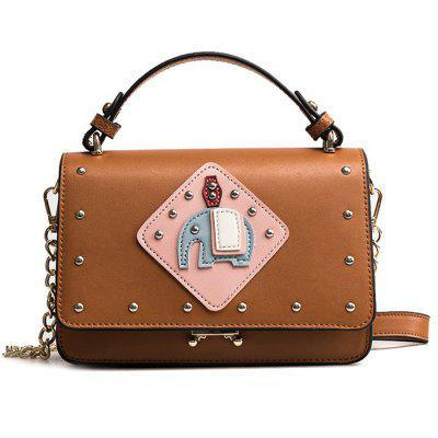 Patchwork Rivet Crossbody Bag