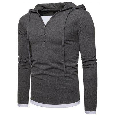 Long Sleeve Button Embellished Hooded TeeMens Long Sleeves Tees<br>Long Sleeve Button Embellished Hooded Tee<br><br>Collar: Hooded<br>Material: Cotton, Polyester<br>Package Contents: 1 x Tee<br>Pattern Type: Color Block<br>Season: Fall, Spring<br>Sleeve Length: Full<br>Style: Casual<br>Weight: 0.3200kg