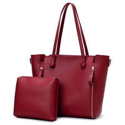 PU Leather 2 Pieces Tote Bag Set