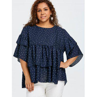 Plus Size Polka Dot Tiered Flounce BlousePlus Size Tops<br>Plus Size Polka Dot Tiered Flounce Blouse<br><br>Collar: Round Neck<br>Embellishment: Flounce<br>Material: Polyester<br>Package Contents: 1 x Blouse<br>Pattern Type: Polka Dot<br>Season: Spring, Fall<br>Shirt Length: Regular<br>Sleeve Length: Three Quarter<br>Style: Fashion<br>Weight: 0.3550kg