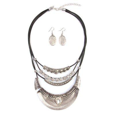 Vintage Ethnic Crescent Moon Pendant Necklace with Earrings