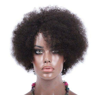 Short Side Bang Shaggy Afro Curly Synthetic Fiber Wig