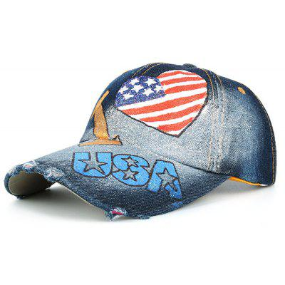 Unique Heart Shaped USA Flag Hand Drawing Baseball Hat