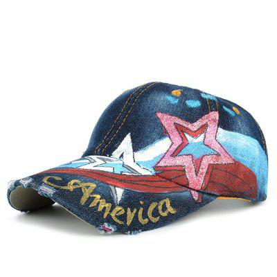 Unique Star Pattern Embellished Hand Drawing Baseball Hat