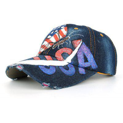 Unique Hand Drawing Butterfly USA Flag Baseball Hat