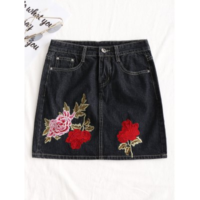 Floral Embroidered A Line Jean Skirt