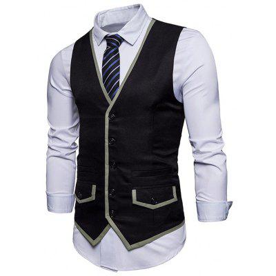 Contrast Trim Faux Pocket WaistcoatWaistcoats<br>Contrast Trim Faux Pocket Waistcoat<br><br>Closure Type: Single Breasted<br>Collar: V-Neck<br>Material: Polyester<br>Package Contents: 1 x Waistcoat<br>Shirt Length: Regular<br>Style: Casual<br>Thickness: Thin<br>Weight: 0.2800kg