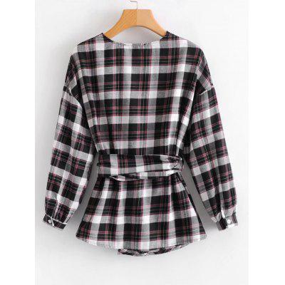 Plaid Wrap Faux Pearls BlouseBlouses<br>Plaid Wrap Faux Pearls Blouse<br><br>Collar: V-Neck<br>Material: Cotton, Polyester<br>Occasion: Casual<br>Package Contents: 1 x Blouse<br>Pattern Type: Plaid<br>Seasons: Autumn,Spring<br>Shirt Length: Regular<br>Sleeve Length: Full<br>Style: Fashion<br>Weight: 0.2600kg