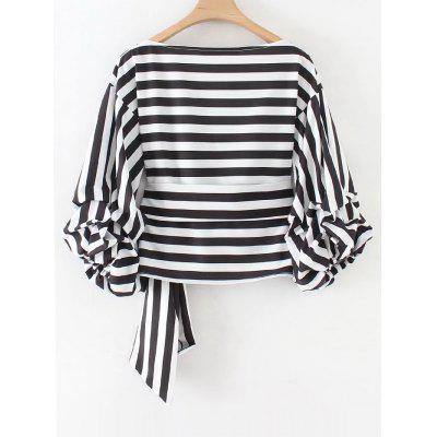 Stripes Wrap Gathered Sleeve BlouseBlouses<br>Stripes Wrap Gathered Sleeve Blouse<br><br>Collar: V-Neck<br>Material: Cotton, Polyester<br>Occasion: Casual<br>Package Contents: 1 x Blouse<br>Pattern Type: Striped<br>Seasons: Autumn,Spring<br>Shirt Length: Short<br>Sleeve Length: Three Quarter<br>Style: Fashion<br>Weight: 0.2700kg