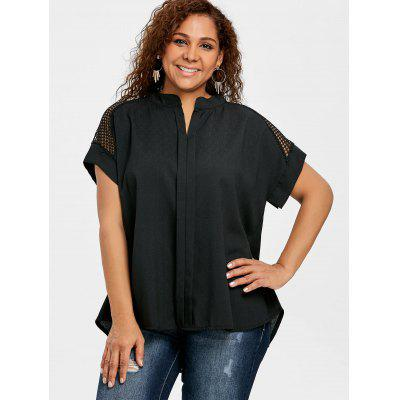 Plus Size Crochet High Low BlousePlus Size Tops<br>Plus Size Crochet High Low Blouse<br><br>Collar: V-Neck<br>Material: Polyester<br>Package Contents: 1 x Blouse<br>Pattern Type: Solid<br>Season: Summer<br>Shirt Length: Regular<br>Sleeve Length: Short<br>Style: Fashion<br>Weight: 0.2200kg