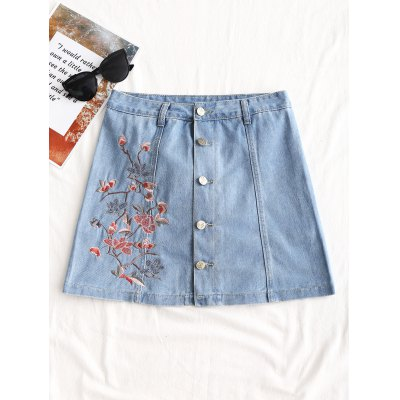 Floral Embroidered Button Up Denim Skirt
