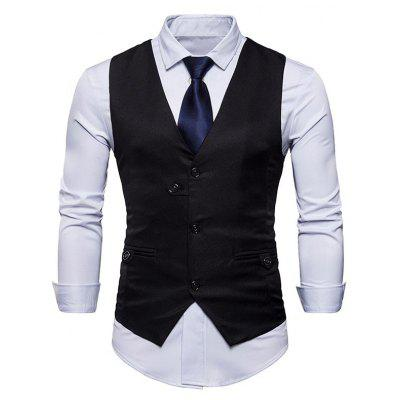 Single Breasted V Neck Belted Waistcoat