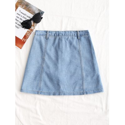 Floral Embroidered Button Up Denim SkirtSkirts<br>Floral Embroidered Button Up Denim Skirt<br><br>Embellishment: Embroidery<br>Length: Mini<br>Material: Cotton, Jeans, Polyester<br>Package Contents: 1 x Skirt<br>Pattern Type: Floral<br>Silhouette: A-Line<br>Weight: 0.3750kg<br>With Belt: No