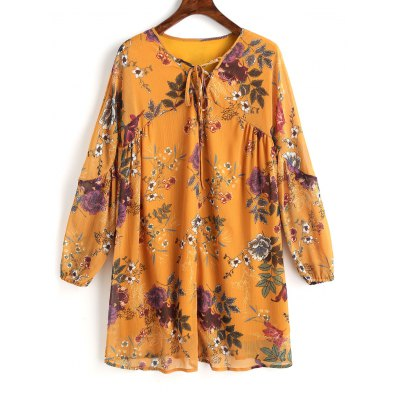 Buy MUSTARD M Floral Lace Up Tunic Mini Dress for $28.35 in GearBest store