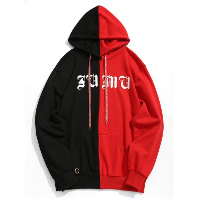 Graphic Studded Color Block Hoodie