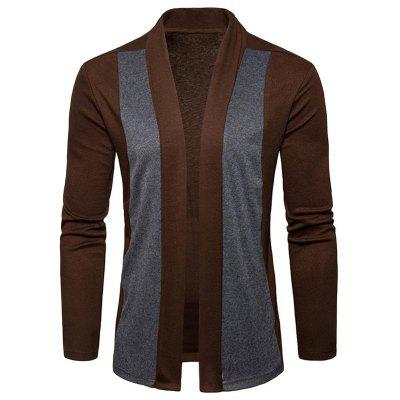 Two Tone Open Front Shawl Collar Cardigan