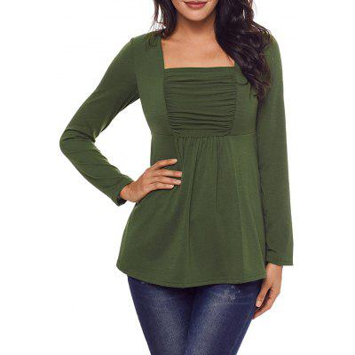 Ruched Square Neck Long Sleeve Top
