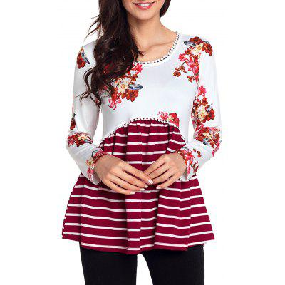 Stripe and Floral Trimmed Tunic Top