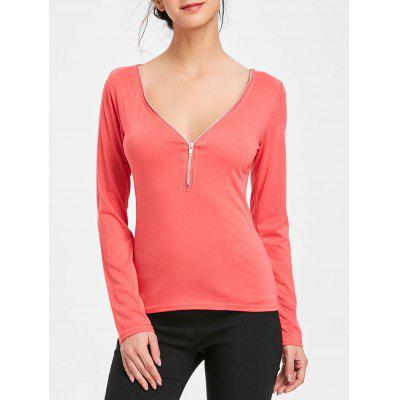 Zip Up V Neck Long Sleeve Top