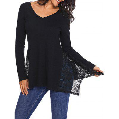 V Neck Asymmetric Lace Panel Top