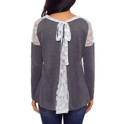 Lace Insert Back Tie Up Top