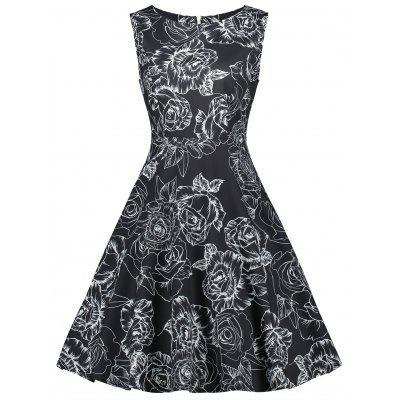 Buy BLACK M Retro Floral Printed Fit and Flare Dress for $23.24 in GearBest store