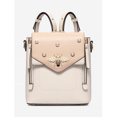 Bee Faux Pearl PU Leather Backpack