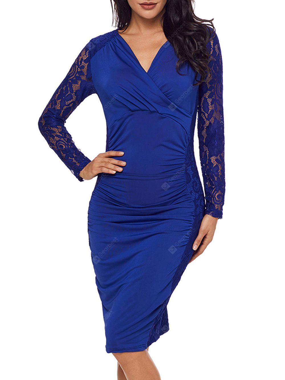 Surplice Neck Lace Panel Ruched Bodycon Dress