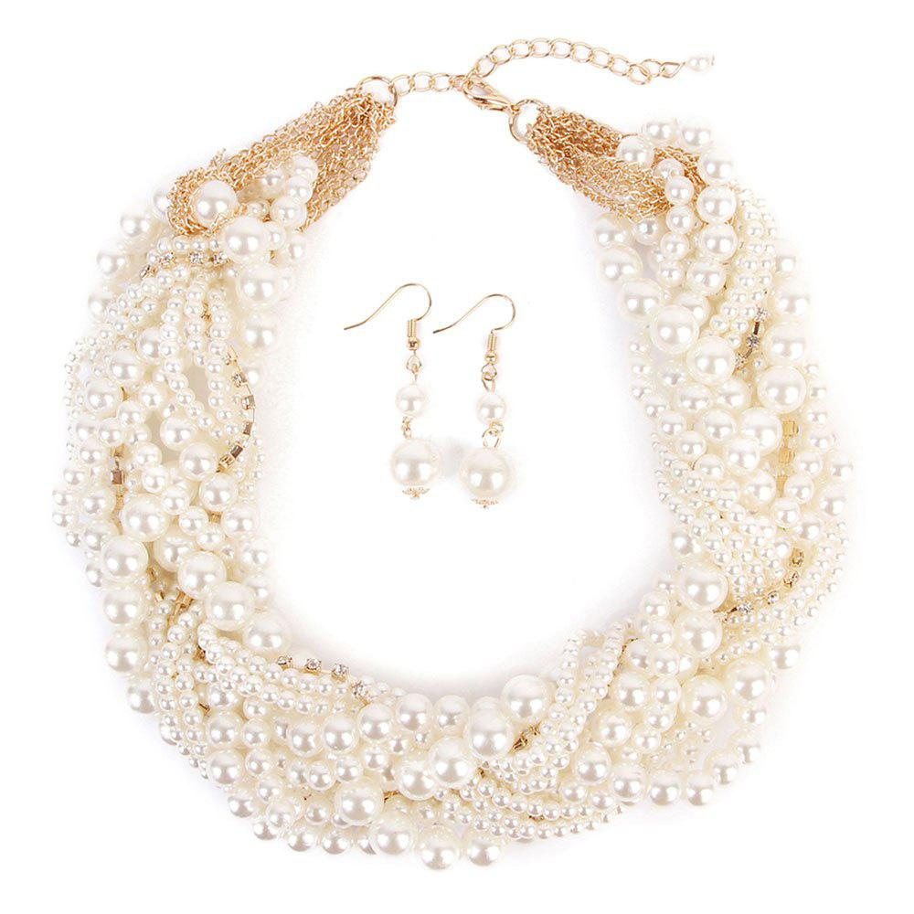 Faux Pearl Chunky Necklace and Earring Set