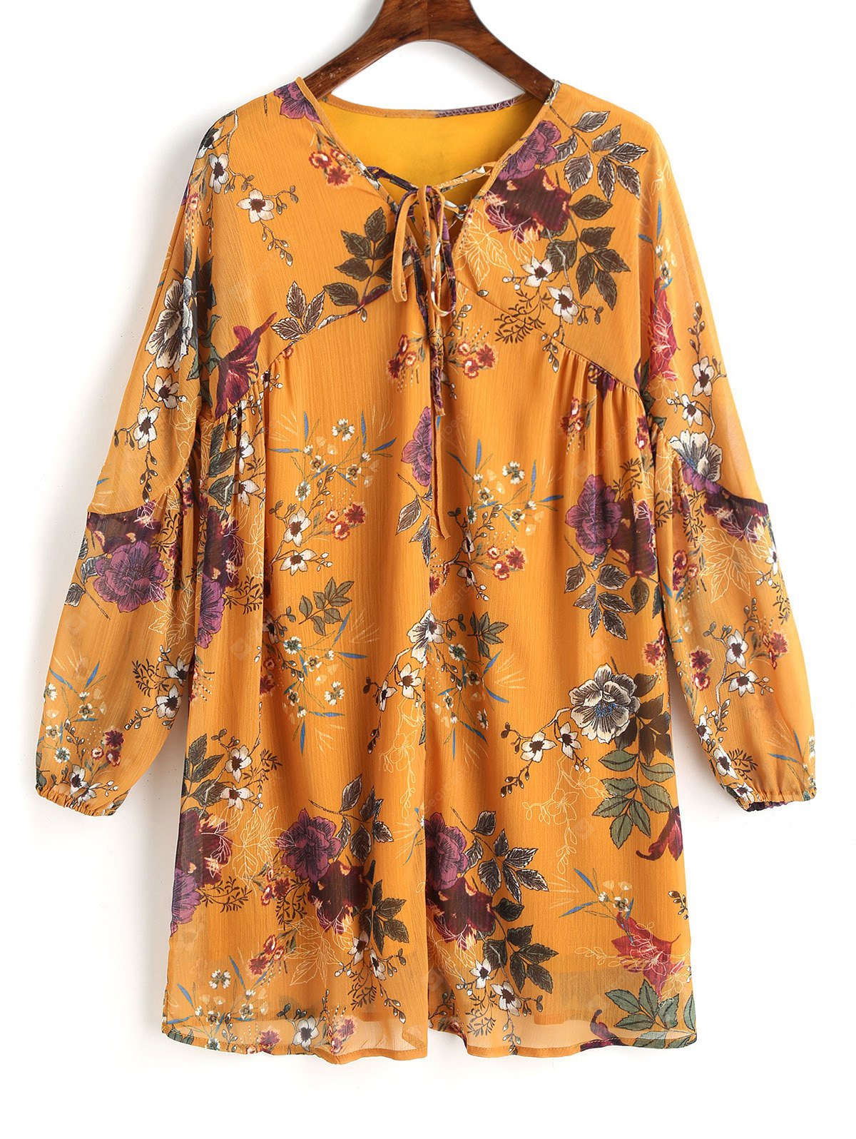 MUSTARD S Floral Lace Up Tunic Mini Dress