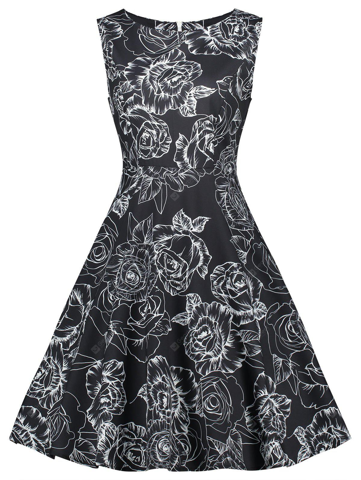 Retro Floral Printed Fit and Flare Dress