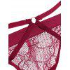 Padded Lace Strappy Bra Set - RED