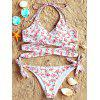 Flamingo Pattern Wrap Bikini Set - COLORMIX