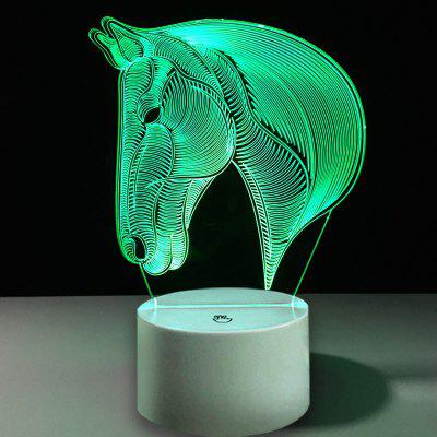 3D Horse Head Decor USB Charging LED Touch Night Light