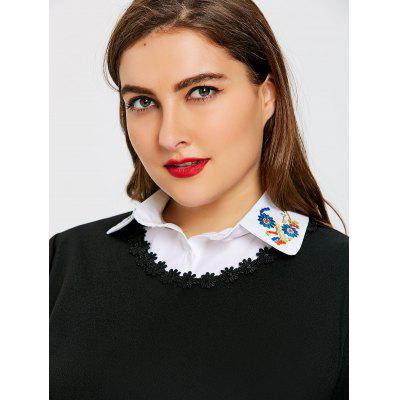 Flower Embroidered Plus Size False Shirt Detachable Collar