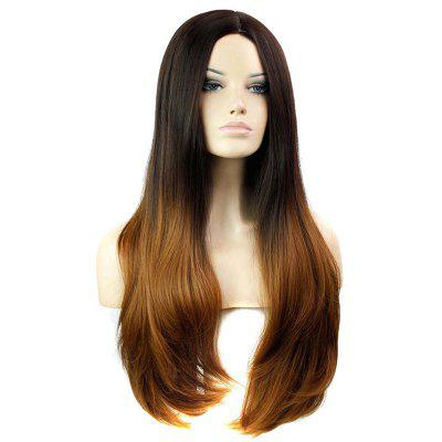 Middle Part Long Ombre Straight Synthetic Wig