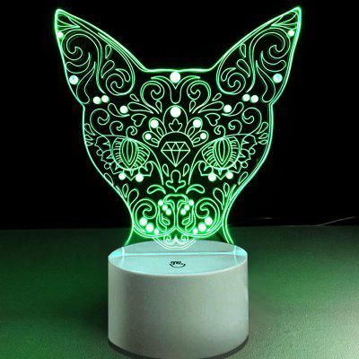 Figure Cat Head Pattern Color Changing 3D Vision Night Light