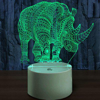 Rhinoceros Color Changing 3D Vision Night Light