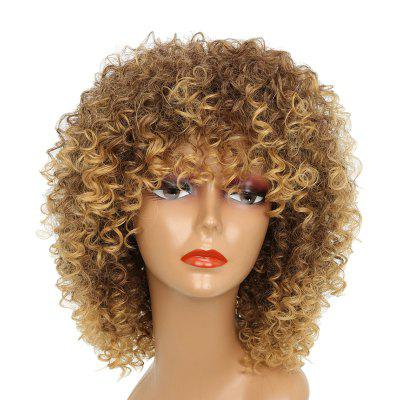 Medium Full Bang Colormix Shaggy Afro Kinky Curly Synthetic Wig