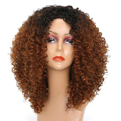 Medium Center Parting Colormix Shaggy Kinky Curly Synthetic Wig