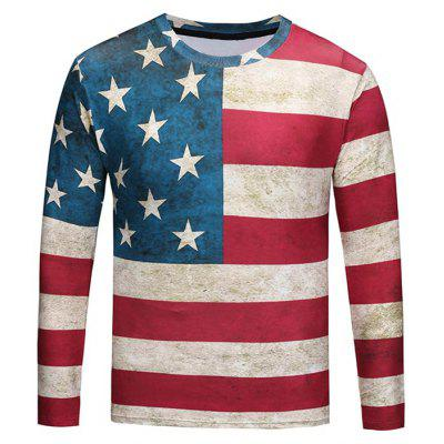 Crew Neck Distressed American Flag Tee