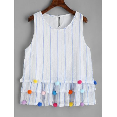 Striped Pom Poms Tiered Sleeveless Blouse