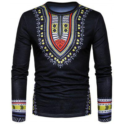 Ethnic Style Dashiki Print Long Sleeve T-shirt
