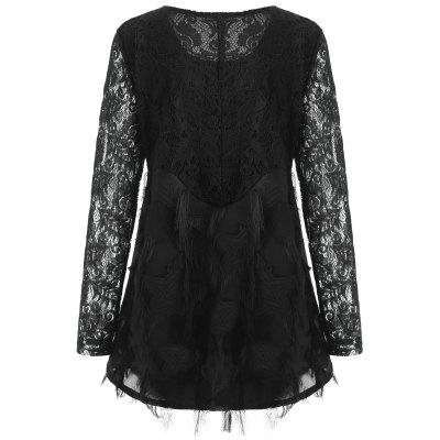 Plus Size Lace Panel Fringed BlousePlus Size Tops<br>Plus Size Lace Panel Fringed Blouse<br><br>Collar: Round Neck<br>Embellishment: Lace<br>Material: Polyester<br>Package Contents: 1 x Blouse<br>Pattern Type: Solid<br>Season: Spring, Fall<br>Shirt Length: Regular<br>Sleeve Length: Full<br>Style: Fashion<br>Weight: 0.2900kg