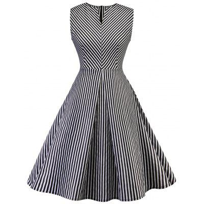 Vintage Striped Fit and Flare Dress