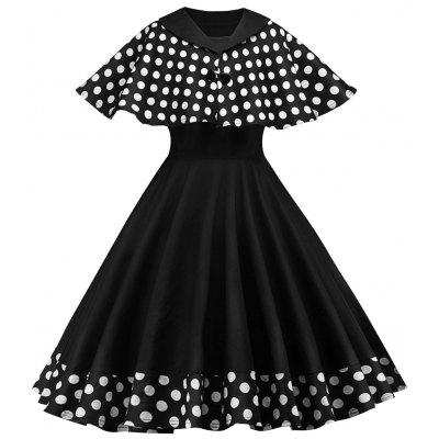 Vintage Polka Dot Pin Up Dress With Cape