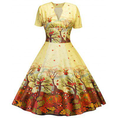 Vintage Forest Print Pin Up Dress
