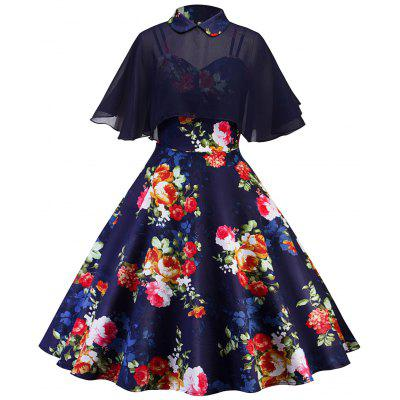 Vintage Floral Print Pin Up Dress With Cape