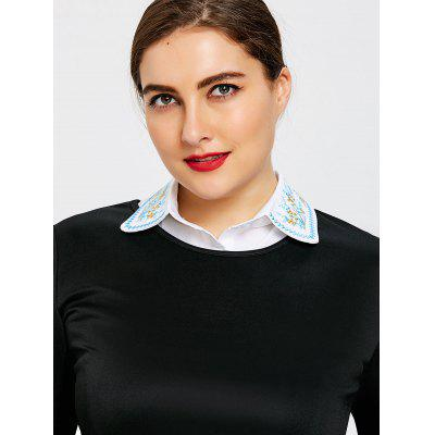 Plus Size Tiny Floral Embroidered Detachable Collar